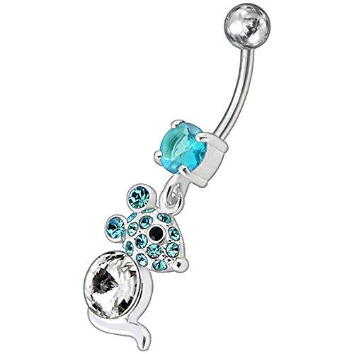 Barres de Pierre en cristal souris branché Design 925 argent Sterling avec le ventre en acier inoxydable Light Blue