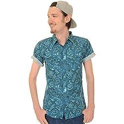 Run & Fly Hombre Geek Química Ciencia Lab Camisa Estampada - Mar Azul, M