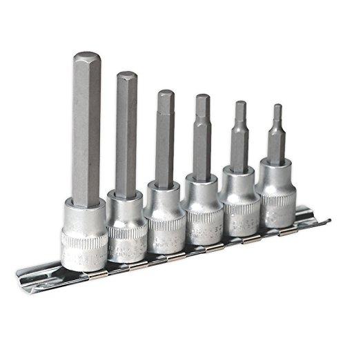 Sealey Hex Socket Bit (SEALEY ak6209Innensechskant Bit Set mit Schiene 63/20,3cm SQ DRIVE Metrisches)
