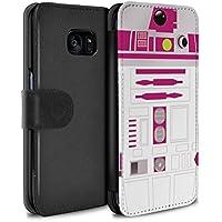 Stuff4 Coque/Etui/Housse Cuir PU Case/Cover pour Samsung Galaxy S7 Edge/G935 / Unité R2 Rose Design / Astromech Droïde Collection