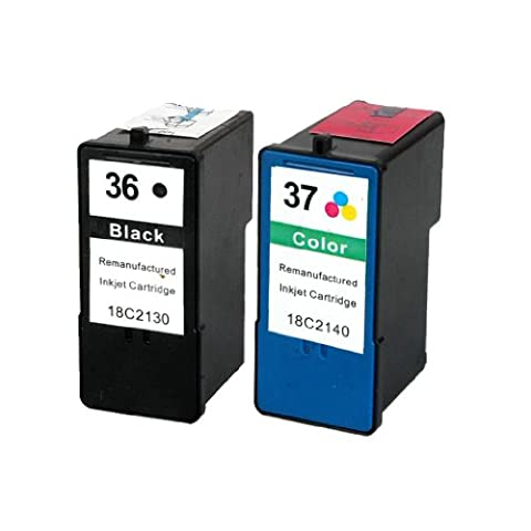 Remanufactured Lexmark 36 XL 37 XL (Set of Black and Colour) Printer ink Cartridges For Lexmark X3650 X4650 X5650 X6650 X6675