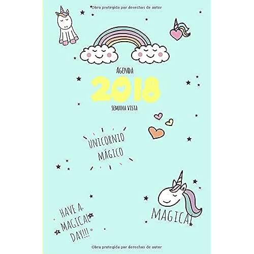 unicornios kawaii Agenda 2018 semana vista: unicornio mágico (Lindo Kawaii Papelería)