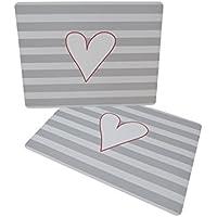 2teiliges tavolo Set tovagliette grigio con strisce e
