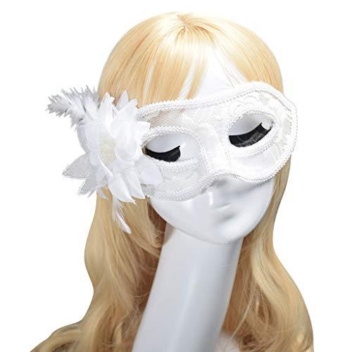 Maskerade Maske,Transwen Karneval Maske Karneval Party Kostüm Festival Maske Spitze mit Federverzierung Fasching Damen Maskenspiel Schwarz Weiß Gold (Weiß) (60 Shades Of Grey Kostüm)