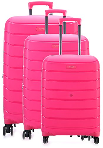 TITAN LIMIT trolley set L/M exp./S, 823102-17 Koffer-Set, 77 cm, 217 L, Pink