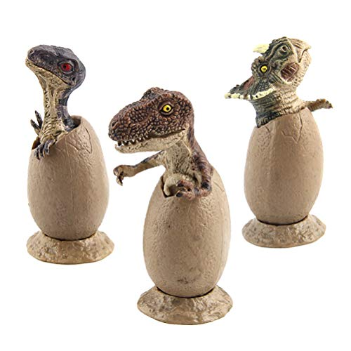 LEDMOMO 3pcs Hatching Dinosaur Eggs Toy Jurassic Dinosaur Model Simulation Egg with Base
