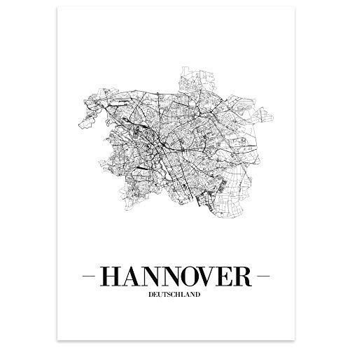 JUNIWORDS Stadtposter - Wähle Deine Stadt - Hannover - 60 x 90 cm - Schrift A - Weiß