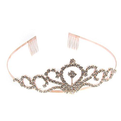eifen Brautschmuck Hochzeit Prinzessin Haarschmuck Strasssteine Glitzer Damen Krone Silbern Bronze, Farbe:Modell 11 ()