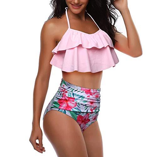 Bfmyxgs Sexy Frauen Mädchen Stilvolle Blumendruck-BH Strand Charming Bikini Push-Up Gepolsterte Mode Set Badeanzug Bademode Beachwear Set Tankini-Sets Badeanzug Bikini Monokini-Sets