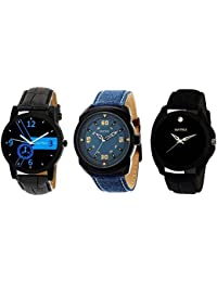 Matrix Black Dial & Multicolor Leather Strap Analog Watches for Men/Boys - Combo (Pack of 3) - (TRP-20)