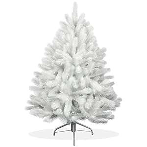 Weißer künstlicher Weihnachtsbaum 120cm in Premium Spritzguss Qualität, weiße Douglastanne, Tannenbaum weiß mit PE Kunststoff Nadeln, Douglasie Christbaum im schneeweißen Design