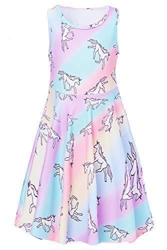 Adicreat Kinder Mädchen Weißes Pferd Ärmelloses Sommerkleid Niedlich A-Linie Kleid 4-5 Jahre -