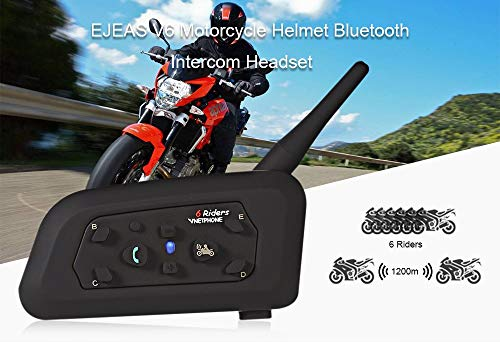 amiciAuto Vnetphone V6 Waterproof Bluetooth Helmet Intercom for 6 Riders (Single Unit)