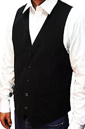 """NEW MEN'S BLACK WAISTCOAT SUPERB HIGH STREET QUALITY + FREE BOW-TIE, Size-Large 42"""" **SAME DAY POSTING**"""