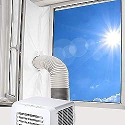 Vegena Joint de Fenêtre pour La Climatisation Mobile et Sèche-Linge, 400CM Tissu De Calfeutrage De Climatiseur Portatif, Fonctionne avec Toutes Les Unités De Climatisation Mobiles, Installation Facile