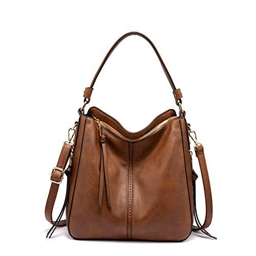 Handtaschen Damen Lederimitat Umhängetasche Designer Taschen Hobo Taschen groß Mit Quasten Braun Kleine Größe
