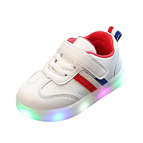 FNKDOR Baby Kleinkind Kinder LED Leuchtschuhe Weiß Turnschuhe Striped Sneaker(23,Rot)