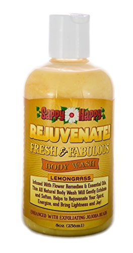 Rejuvenate! All Natural Exfoliating Body Wash- Enhance Your Mood and Energy, with this Chemical Free Body Wash that is Infused with Flower Remedies and Essential Oils for a Calming and Award Winning Rejuvenation (Lemongrass 8oz) by Strongest Minds LIVE-LIFE-HAPPY (Body Lemongrass Wash)