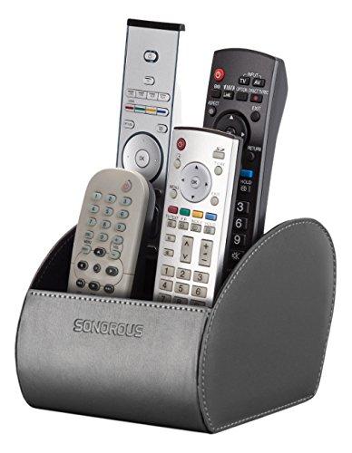 Sonorous Double Remote Holder Luxus Doppelt Fernbedienung Halter, Holz, grau, 15,5 x 15 x 12 cm