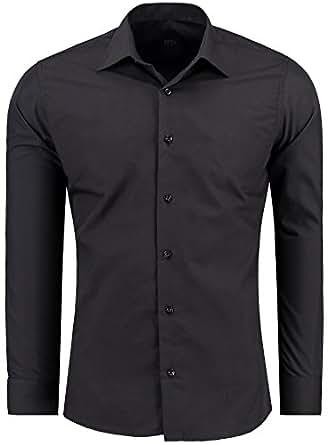 J'S FASHION Herren-Hemd – Slim Fit – Bügelleicht – Langarm-Hemd für Business Freizeit Hochzeit – Schwarz - S