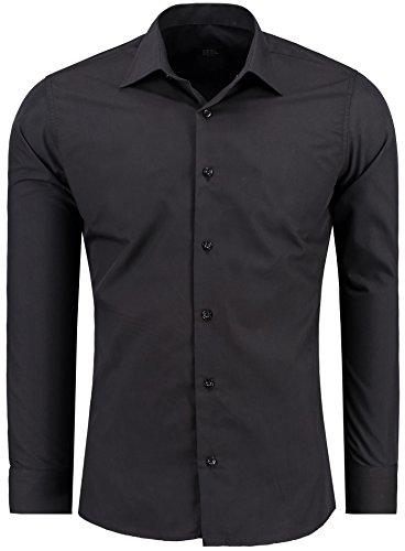 Jeel Langarm Herren Hemd Basic Business Anzug Freizeit Hochzeit Slim Fit, FARBE: Schwarz, GRÖßE: M (Weiß Klassischen Bowling-shirt)
