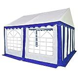 FZYHFA Gartenpavillon, PVC, 500 g/m², verzinkter Stahl, 4 x 4 m, mit 2 Fenstern, Blau und Weiß