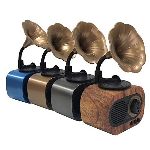 Bluetooth-Lautsprecher-Player mit Mikrofon FM Radio Tf Retro Phonograp Style Holz Klassischer Lautsprecher Audio Antike Startseite Super Bass Subwoofer Phonograph Drahtlose Stereo-Musikbox
