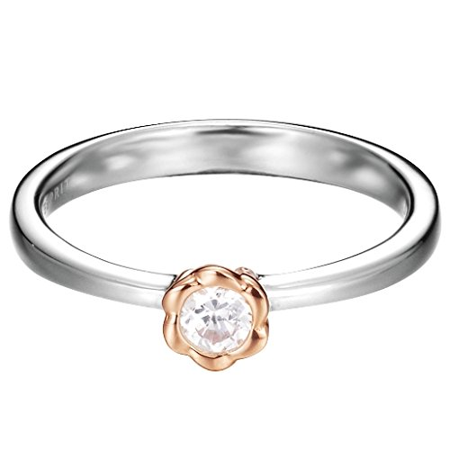 Esprit Damen-Ring 925 Sterling Silber Zirkonia petite rose weiß ESRG92502A160
