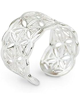 Schmuck Ring Blume des Lebens aus 925 Sterling Silber, Ø 18mm, Damen Silberring Symbolschmuck Lebensblume offen...