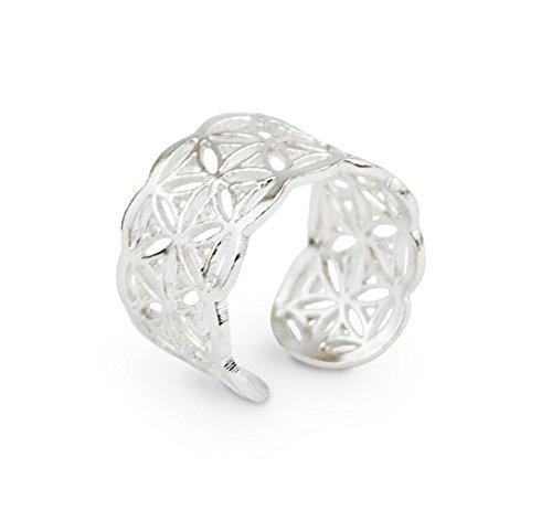 Schmuck Ring Blume des Lebens aus 925 Sterling Silber, Ø 18mm, Damen Silberring Symbolschmuck Lebensblume offen mit Schmucksäckchen
