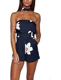 4744ebdf8bb6 Donna Tute Vestiti Da Sera Eleganti Estive Jumpsuit Corto Floreale Stampato  Pantaloncini Tutine Intere Da Cerimonia