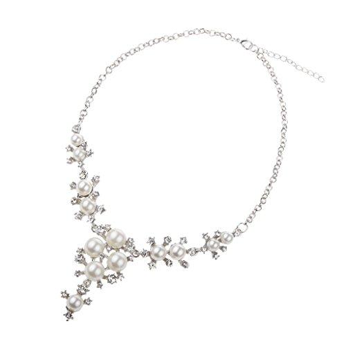 Generic Mariage Cristal Strass Boucles D'oreilles Collier Perles Bijoux Cadeau Fête Argent