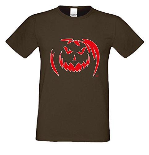 Extrem stylisches gruseliges Halloween-Herren-Fun-T-Shirt als Geschenke-Idee Motiv: Kürbis Farbe: braun Braun