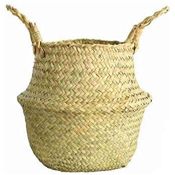 Rainbabe S carr/é fait /à la main Panier de rangement tiss/é en rotin pour fruits Conteneur de pique-nique Panier