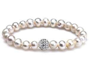 Silvity Pearls Bracciale in perla-allevamento e Strass braccialetto Strass-Bead 70 mm 844101-20