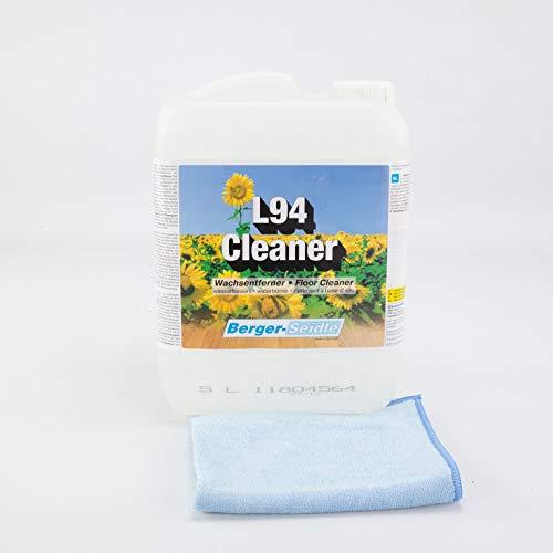 Berger-seidle l94 cleaner - detergente per parquet + 1 panno lucidante premium da 5 litri, per parquet sigillato e pavimenti in legno, a base di acqua