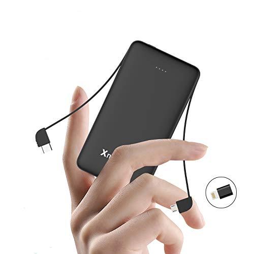 Xnuoyo 10000mAh Power Bank Handy Externer Batterie mit Kabel Type-C & Micro USB Kabel Ultra Slim Externer Akku Kompatible mit Phones