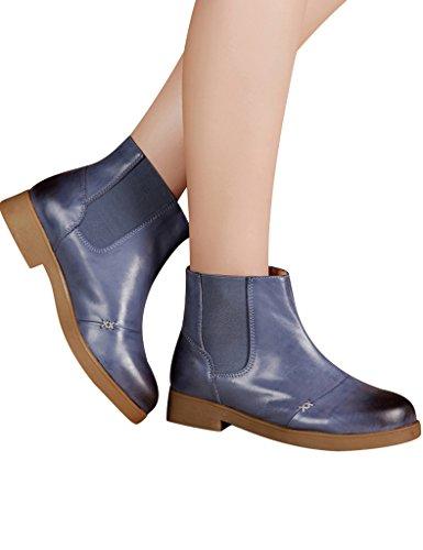 Youlee Femmes Retro Appartement Bottes Mode Cuir Cheville Bottes Bleu