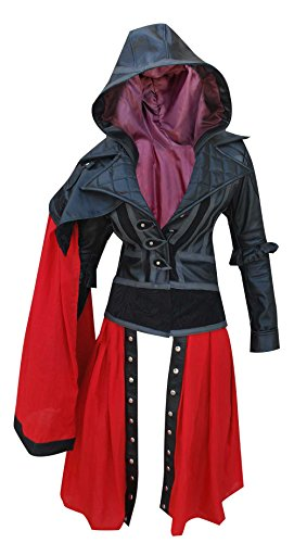 Assassin 's Creed Syndicate Evie Frye Synthetik Leder Jacke, Parka, Schwarz (Assassins Creed Leder Jacke)