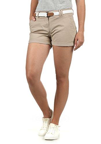 DESIRES Chanett Damen Chino Shorts Bermuda Kurze Hose mit Gürtel Stretch, Größe:34, Farbe:Simple Taupe (0162)