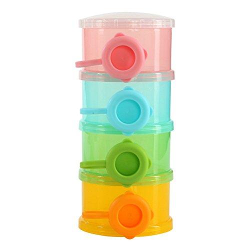 Bunt Milchpulverportionierer Babynahrung Snack Container Flasche (BPA-frei) 4 Schichten Kinder...