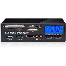 Ronsen 525F - 5.25'' Multifunción Panel de control de medios Panel frontal del PC con LCD Pantalla (Monitor CPU Temperatura), Regulador Controlador de velocidad del ventilador, eSATA, USB 3.0, Micrófono Auricular Puertos de Audio y Integrado All-in-1 Lector de tarjetas (SD/XD/Micro SD/TF/MS/M2/CF/MMC)