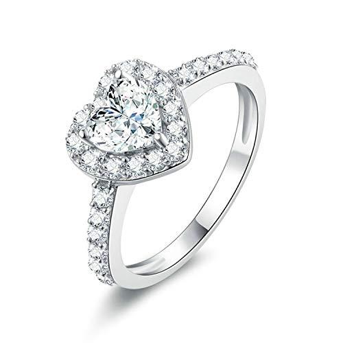 ng Silber Herz Ring für Frauen Herz Zirkonia CZ Ehering Ring Größe 62 (19.7) ()