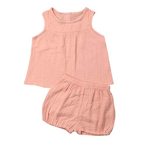 Zegeey Baby MäDchen Kleinkind Einfarbig Tops T-Shirts Tee Blusen Weste Shorts Hosen Sommer Outfits Bekleidungssets 2-Teiliges(Pink,80-90cm)