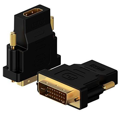 Rankie DVI auf HDMI Adapter, Vergoldet 1080P HDTV Konverter, 2 Stück, Schwarz