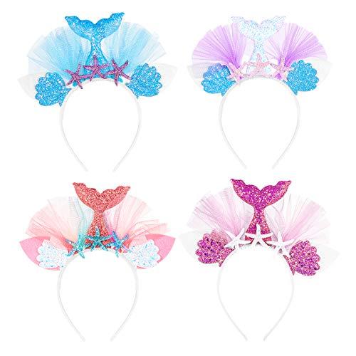 Lurrose Meerjungfrauenschwanz-Stirnband mit Pailletten und Meerjungfrauen-Haar-Accessoires für Kinder, Mädchen, Frauen, 4 Stück