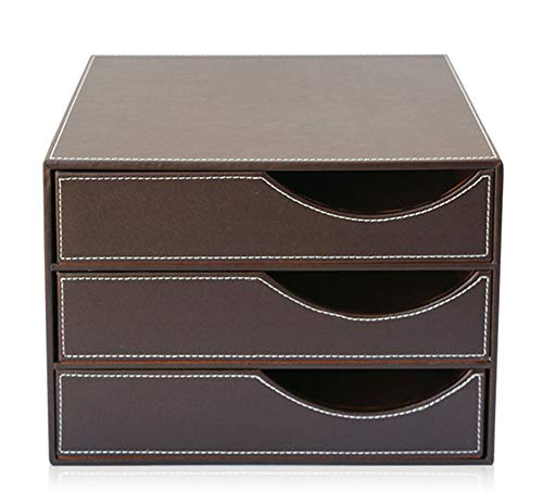 ZKXYX Desktop Aktenschrank A4 Schubladenbox Ordner Ablagesysteme 3 Schicht Sicherheitsschrank Aktenschrank Aufbewahrungsbox Office (32.5 * 25.5 * 23.5) cm,B
