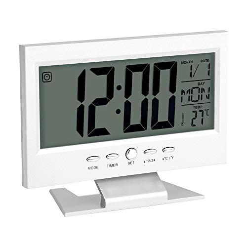 Asixx Wecker Uhr, Schreibtisch Wecker LCD Digitaluhr aus Kunststoff mit Zeit Kalender Datum, Uhrzeit und Woche Temperaturanzeige,15.4 x 11.8 x 3.7cm(Silber) (Datum Mit Schreibtisch-uhr)
