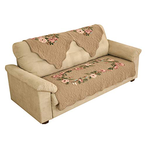 Kswd copertura divano, antiscivolo copridivano ricamo tridimensionale copri divano divani pastorale fiori,a,90x160cm