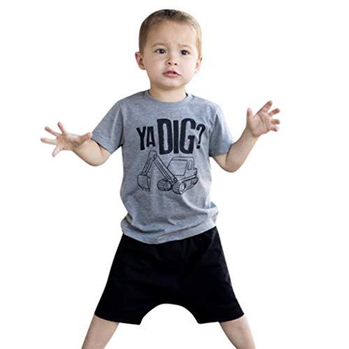 Mitlfuny Unisex Baby Kinder Jungen Zubehör Säuglingspflege,Kleinkind Kinder Baby Boy Brief Outfits Kurzarm T-Shirt Top + Hose Kleidung Set